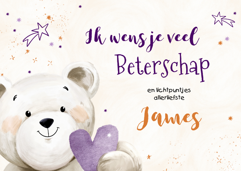 Beterschapskaarten - KiKa beterschapskaart met lieve knuffelbeer en hartje