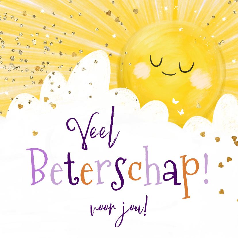 Beterschapskaarten - KiKa beterschapskaart stralende zon en wolk