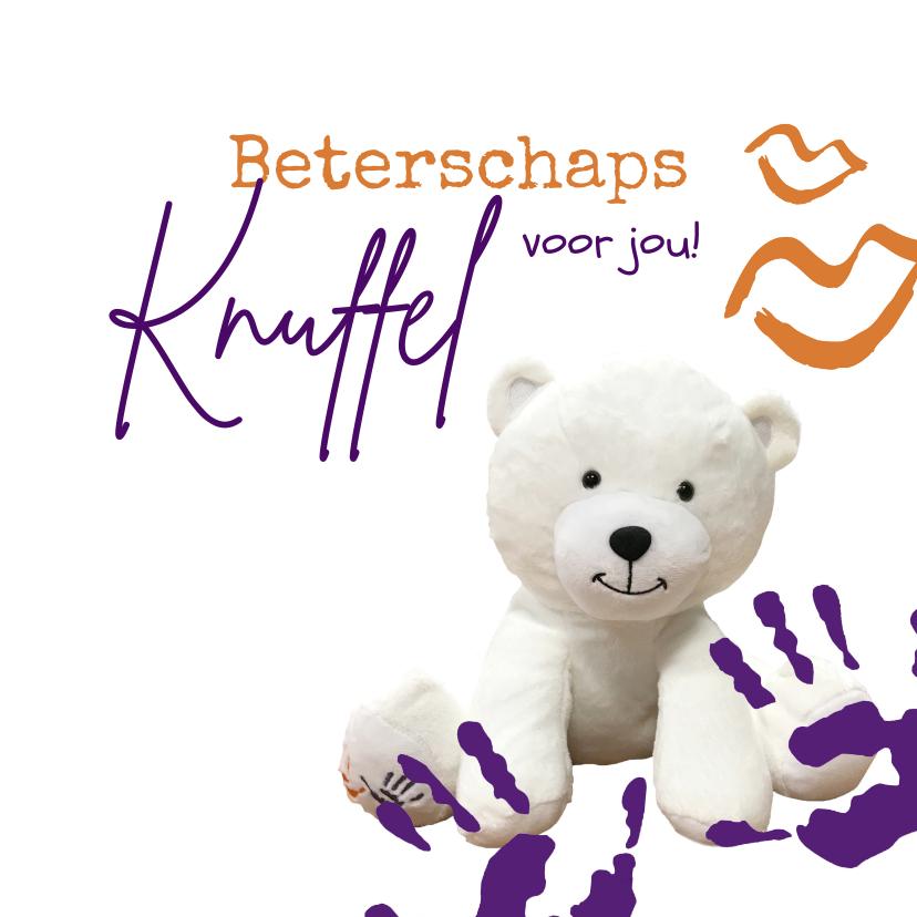 Beterschapskaarten - KiKa beterschapsknuffel met knuffelbeer
