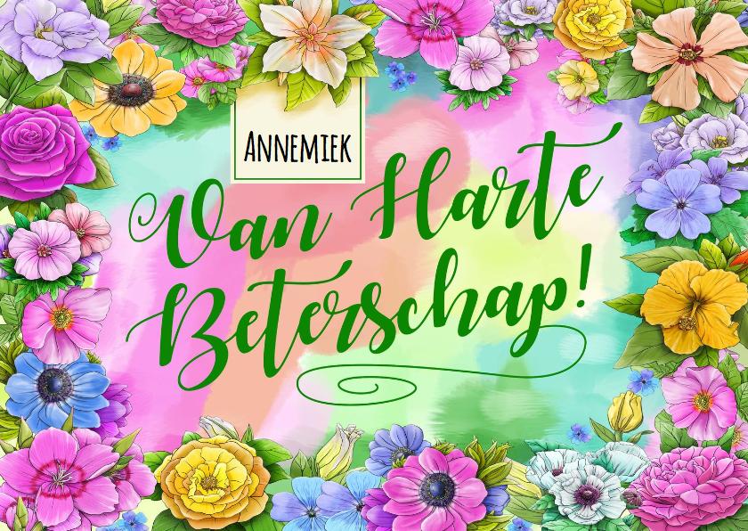 Beterschapskaarten - Kleurrijke beterschapskaart met diverse bloemen