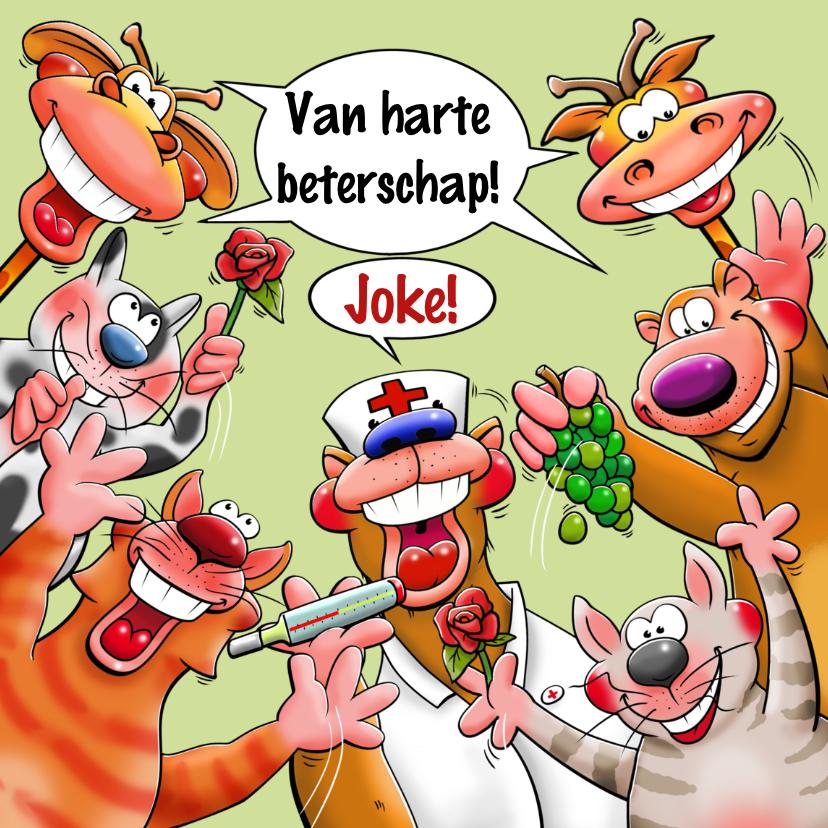Beterschapskaarten - Leuke beterschapskaart met grappige beesten in een kring