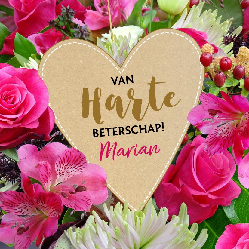 Beterschapskaarten - Leuke beterschapskaart met kartonnen hart op bloemen