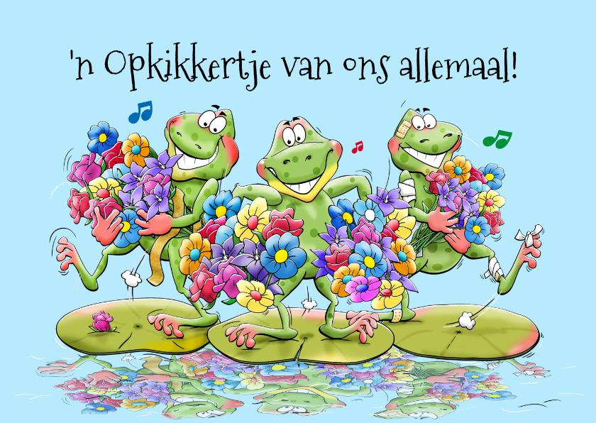 Beterschapskaarten - Leuke beterschapskaart met kikkers op waterlelie-bladeren
