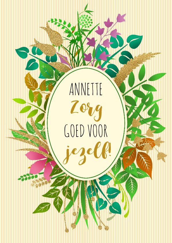 Beterschapskaarten - Leuke beterschapskaart tekst in ovaal op takjes en plantjes