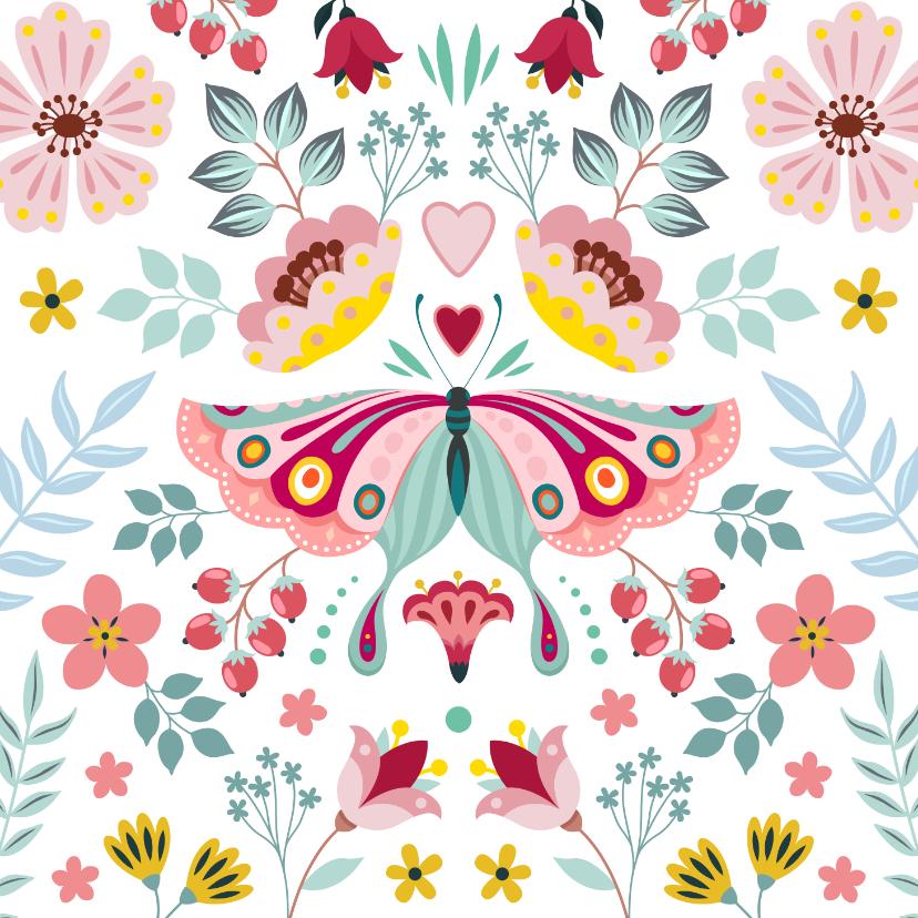 Beterschapskaarten - Lieve beterschapskaart met vlinder en bloemen