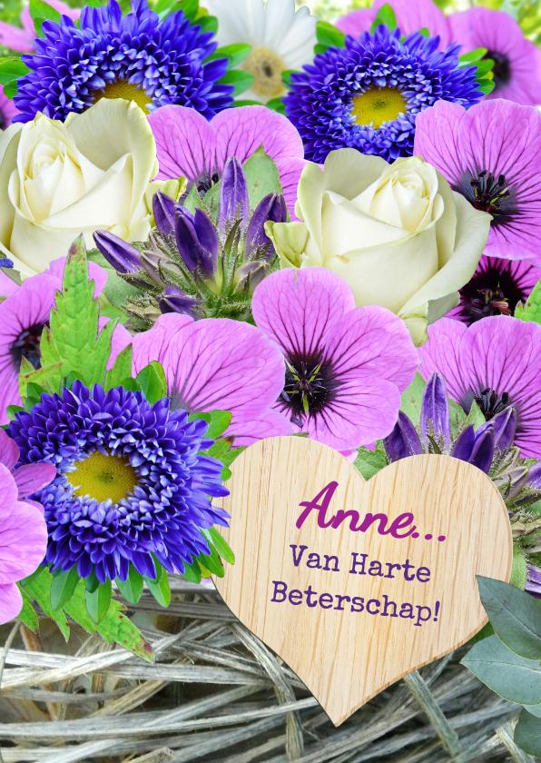 Beterschapskaarten - Mooie beterschapskaart lila bloemen met vlechtwerk en hart