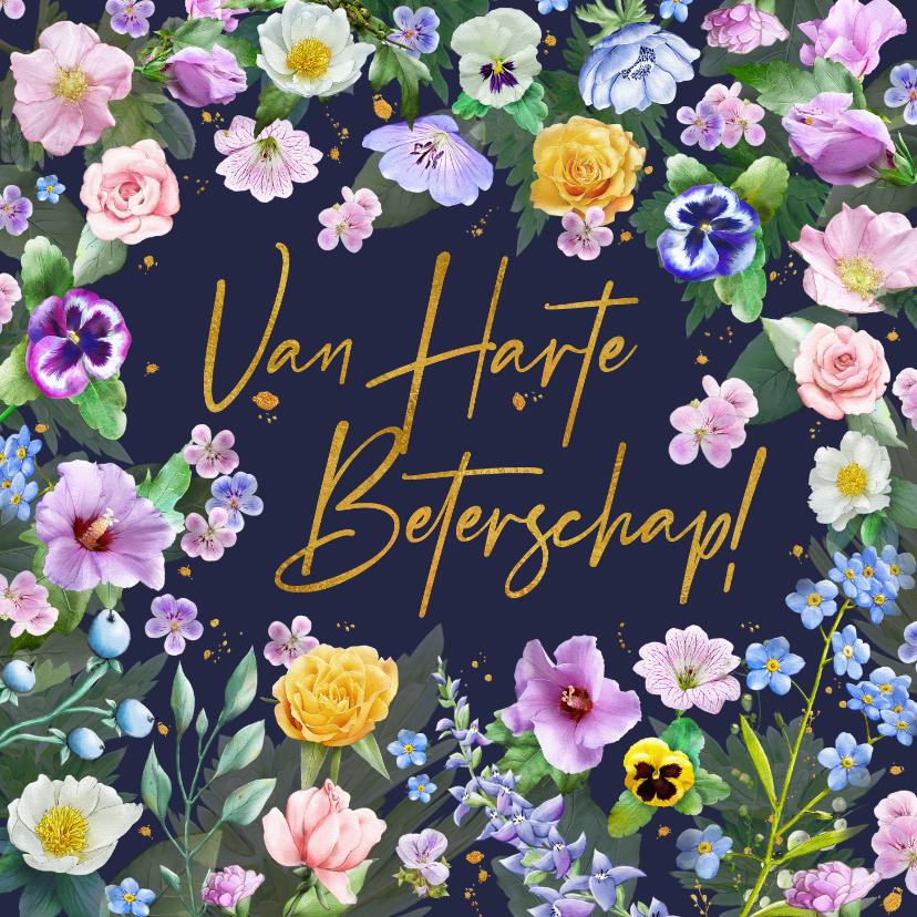 Beterschapskaarten - Mooie beterschapskaart met diverse bloemen zoals rozen