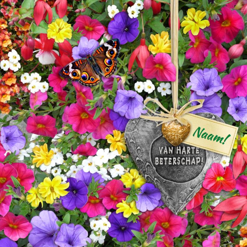 Beterschapskaarten - Mooie beterschapskaart met hartjes op bloemenbed met naam