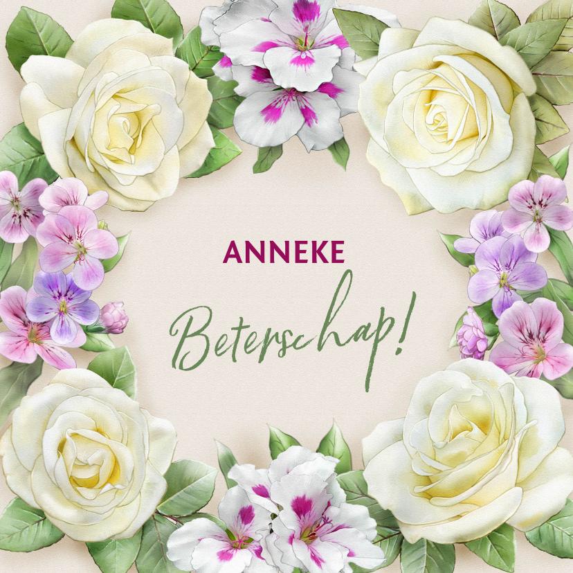Beterschapskaarten - Mooie beterschapskaart met krans van witte rozen