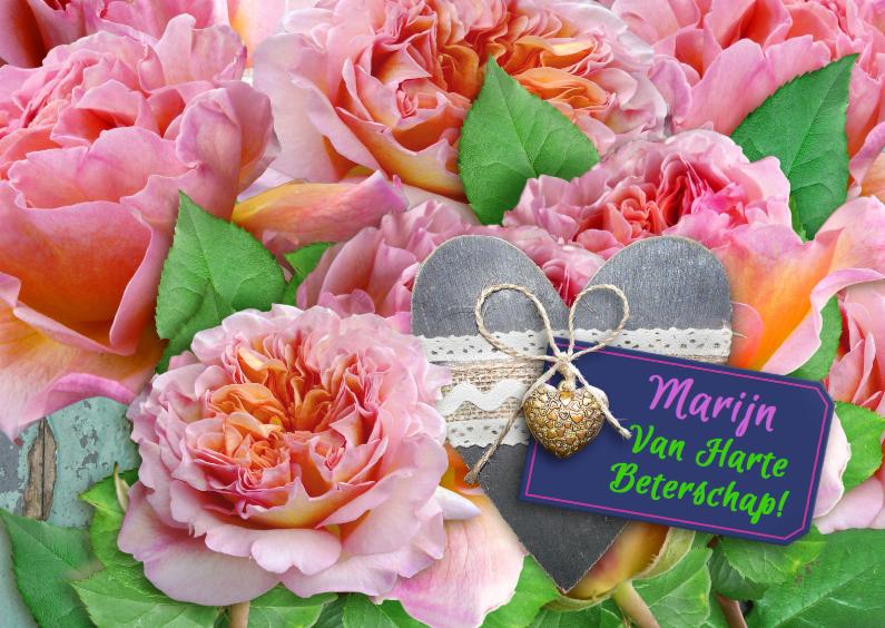 Beterschapskaarten - Mooie beterschapskaart Rozen met grijs hart en label