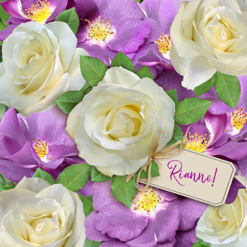 Beterschapskaarten - Mooie beterschapskaart wilde en witte rozen voor de zieke