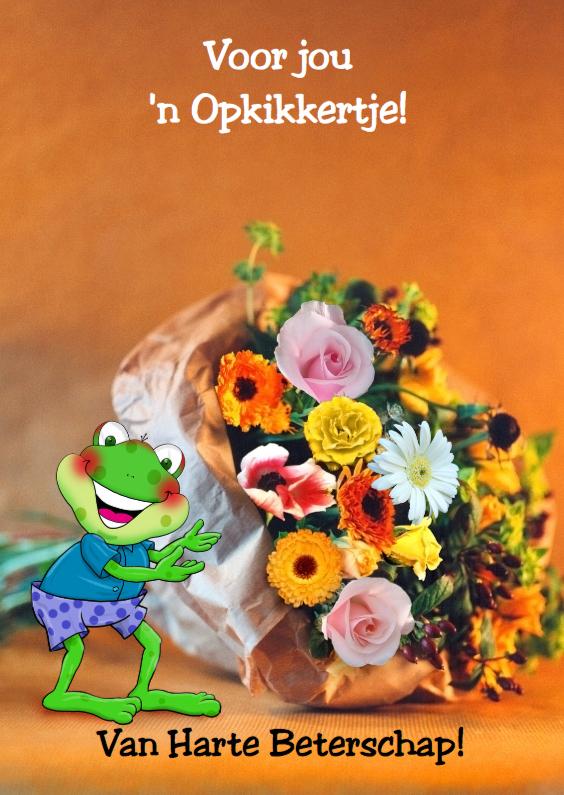 Beterschapskaarten - Opkikkertje en bloemen op pakpapier
