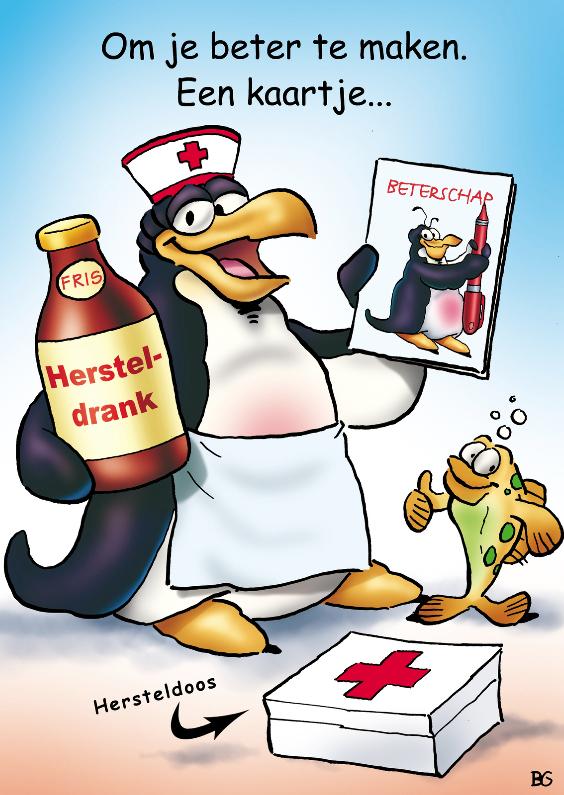 Beterschapskaarten - Beterscahpskaart pinguins beterschap verpleegster