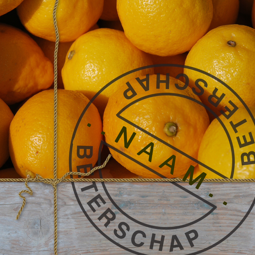 Beterschapskaarten - Sloophout sinaasappels touwtje stempel