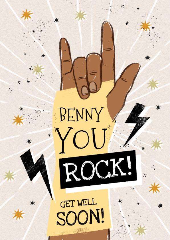 Beterschapskaarten - Stoere beterschapskaart met handgebaar 'You Rock' en sterren