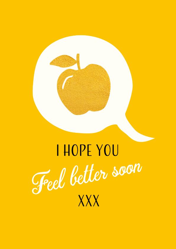 Beterschapskaarten - Tekstballon met gouden appel om beterschap te wensen