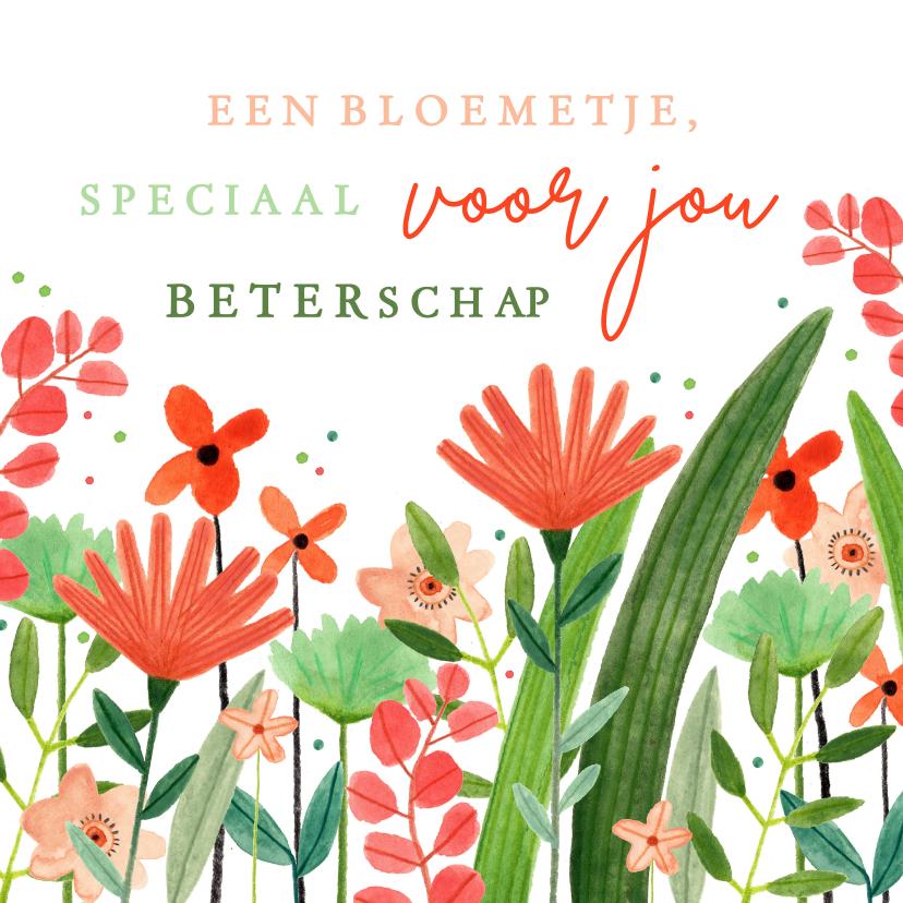 Beterschapskaarten - Vrolijke beterschapskaart bloemetje speciaal voor jou