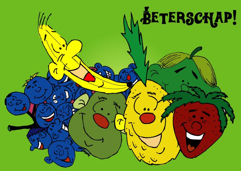 Beterschapskaarten - vrolijke beterschapskaart fruit