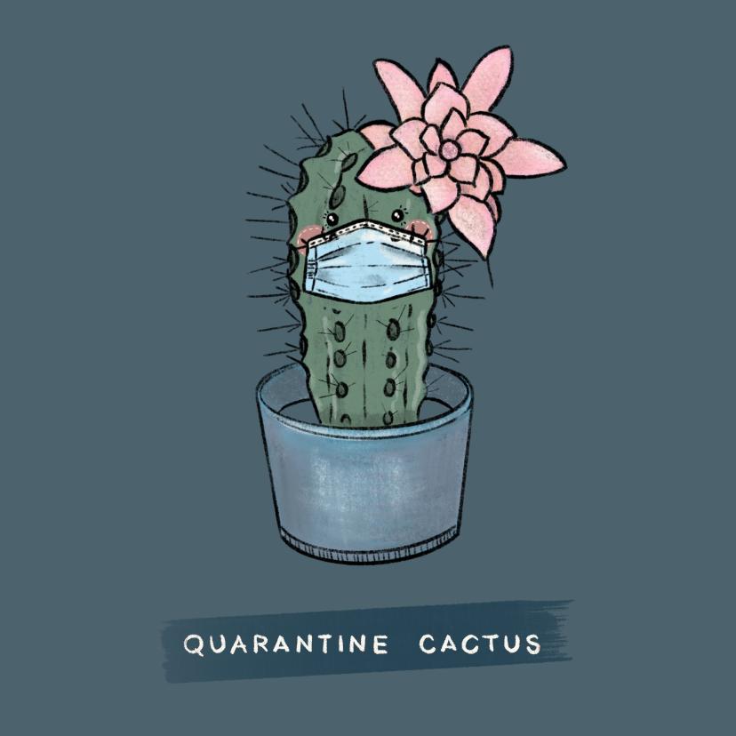 Beterschapskaarten - Vrolijke beterschapskaart van cactus met mondkapje op