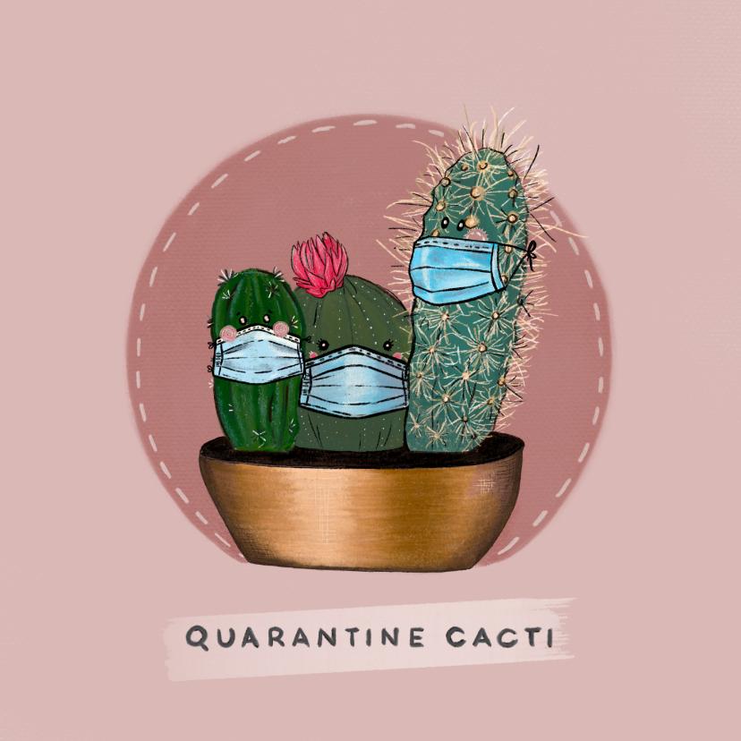 Beterschapskaarten - Vrolijke beterschapskaart van cactussen met mondkapjes