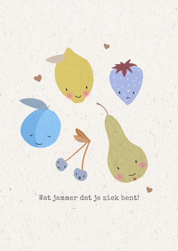 Beterschapskaarten - Vrolijke beterschapskaart voor een jongen met fruit
