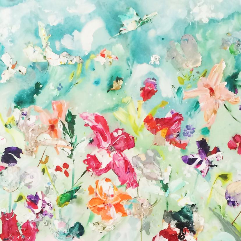 Bloemenkaarten - Bloemen kaart schilderij
