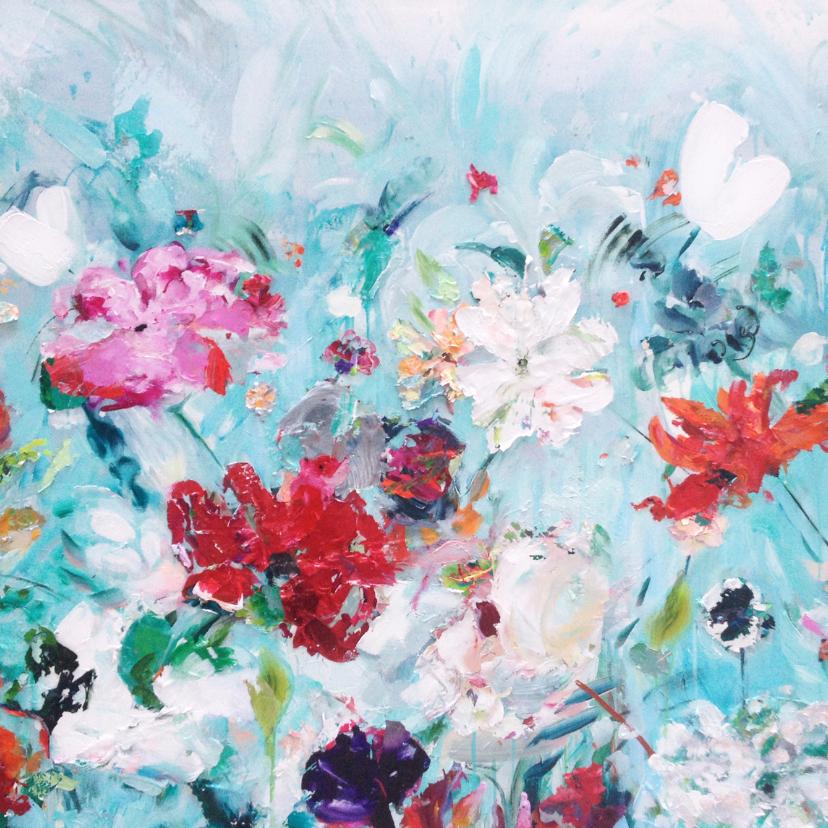 Bloemenkaarten - Bloemen veld vrolijk schilderij