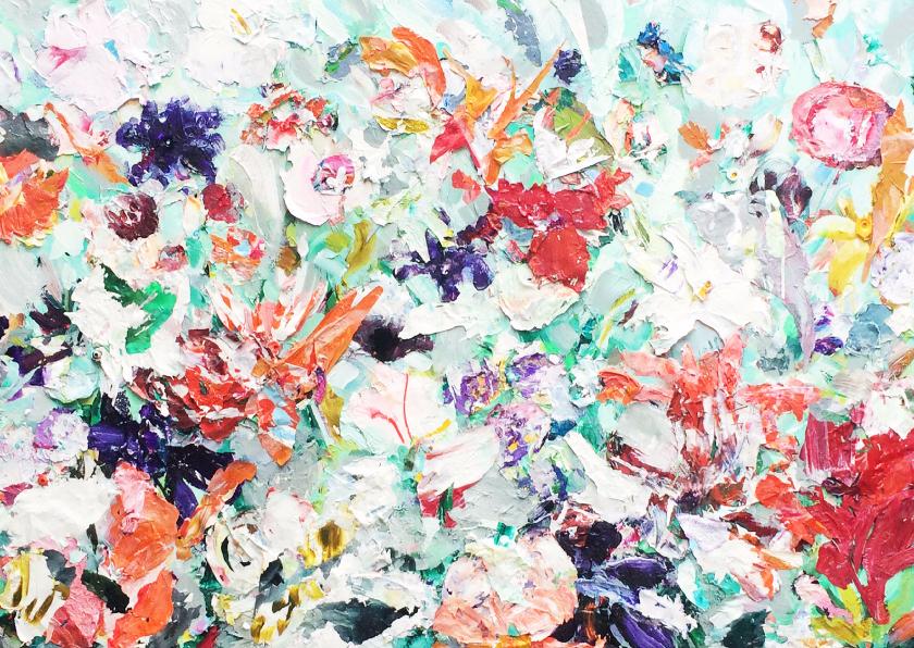 Bloemenkaarten - Bloemen zomerse tuin schilderij