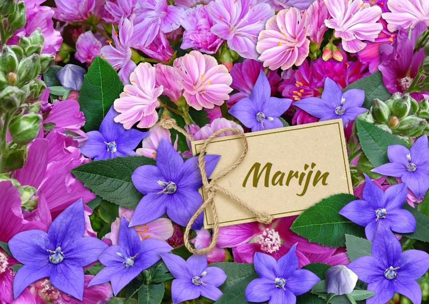 Bloemenkaarten - Bloemenkaart in de kleuren blauw en roze