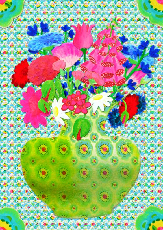 Bloemenkaarten - Bloemenkaart Vaas Gebloemd PA