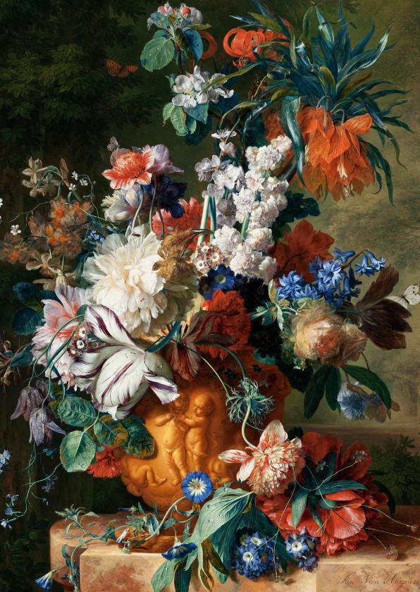 Bloemenkaarten - Jan van Huysum. Boeket met bloemen