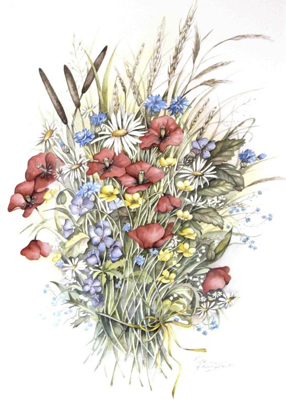 Bloemenkaarten - klaprozen boeket in aquarel