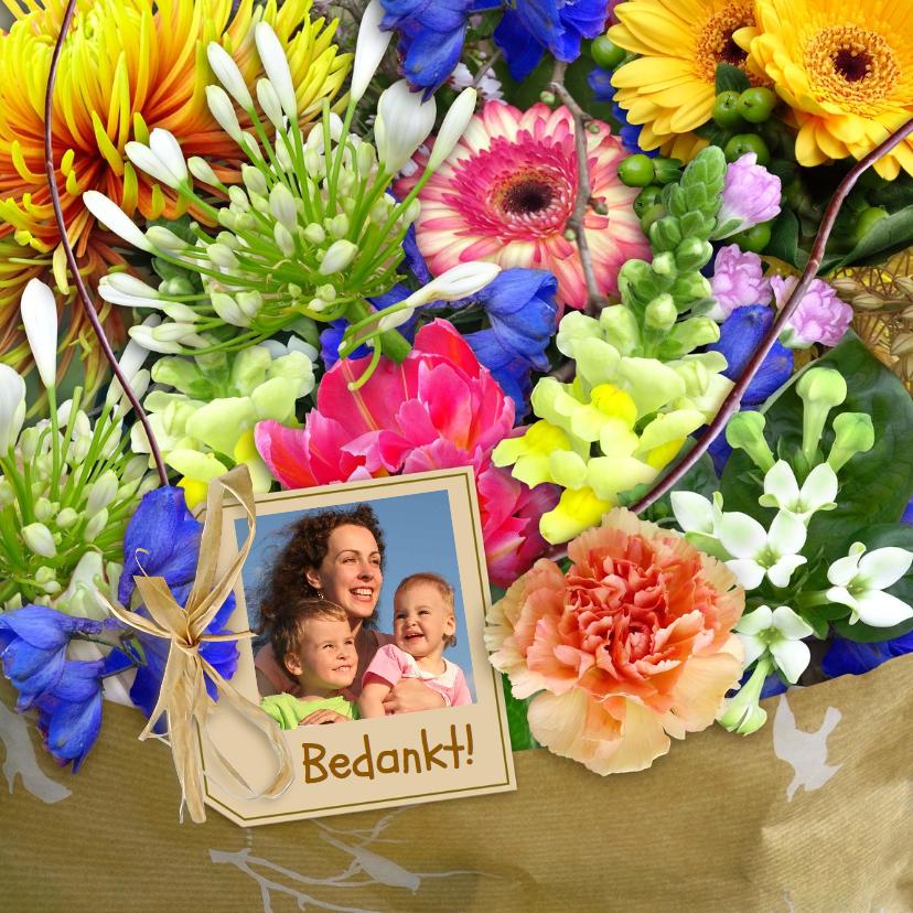 Bloemenkaarten - Leuke kleurige bloemenkaart met mooi boeket en foto