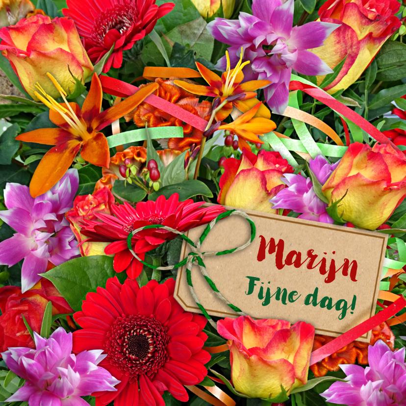 Bloemenkaarten - Mooie bloemenkaart bos bloemen met oa rozen en takjes