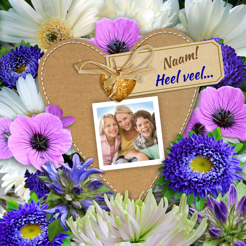 Bloemenkaarten - Mooie bloemenkaart met foto op hart van karton