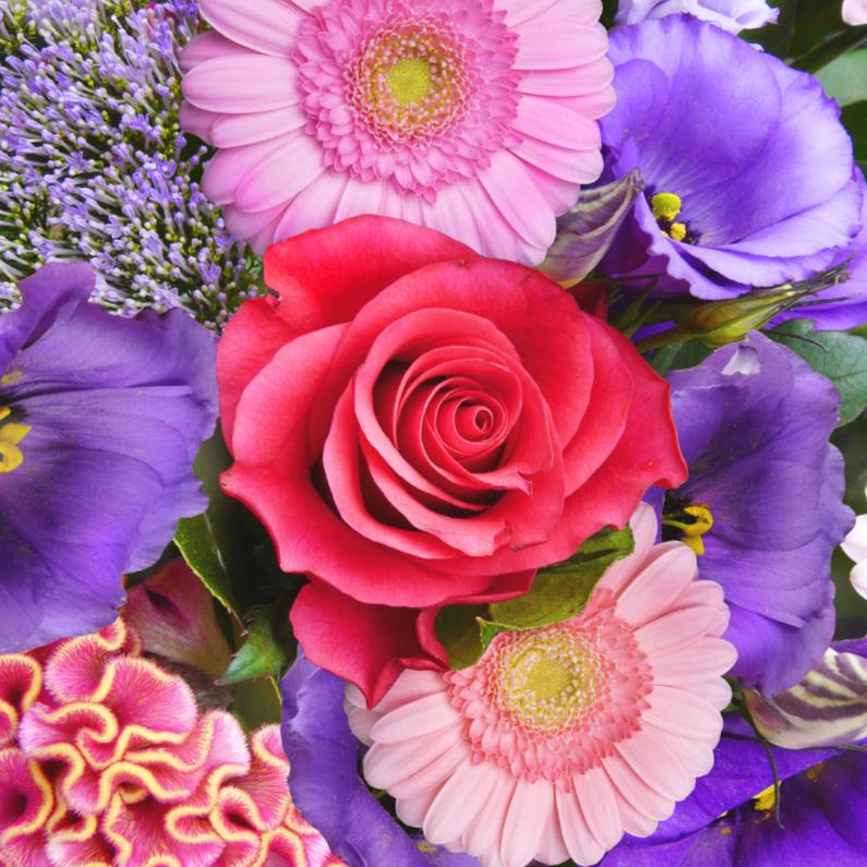 Bloemenkaarten - Mooie bloemenkaart met kleurrijk boeket