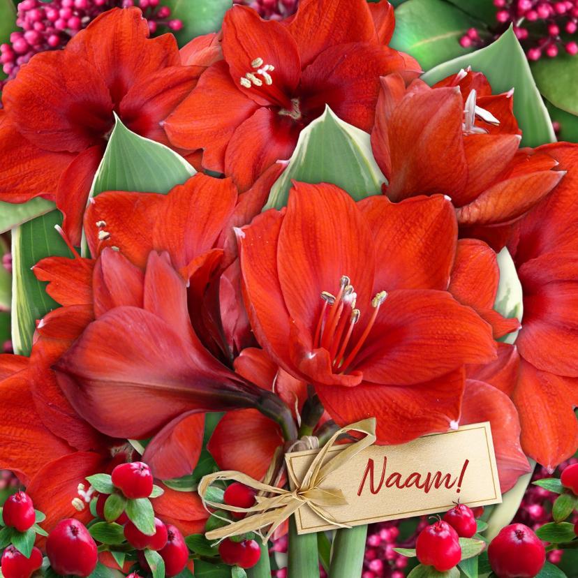 Bloemenkaarten - Mooie bloemenkaart met rode Amaryllissen en label voor naam