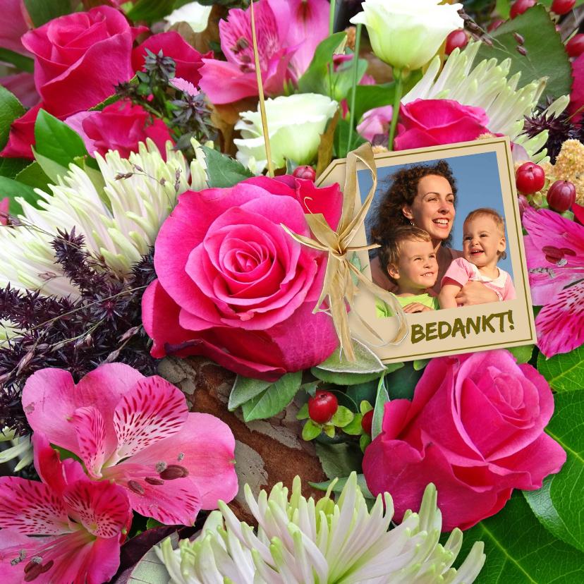 Bloemenkaarten - Mooie bloemenkaart met Rozen en Chrysanten en foto