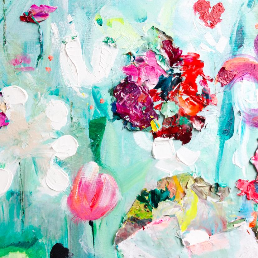 Bloemenkaarten - Schilderij print vrolijke tuin