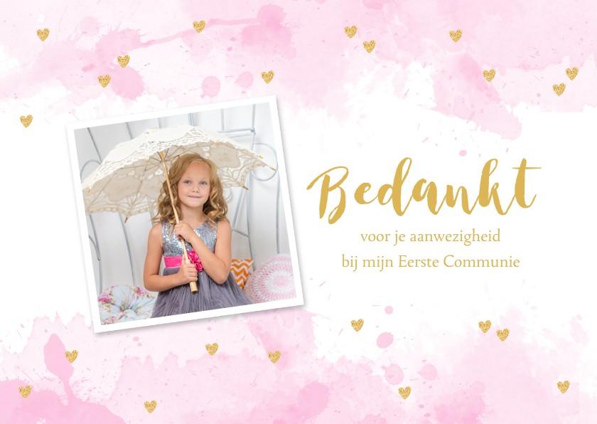 Communiekaarten - Bedankkaart Communie aquarel hartjes foto