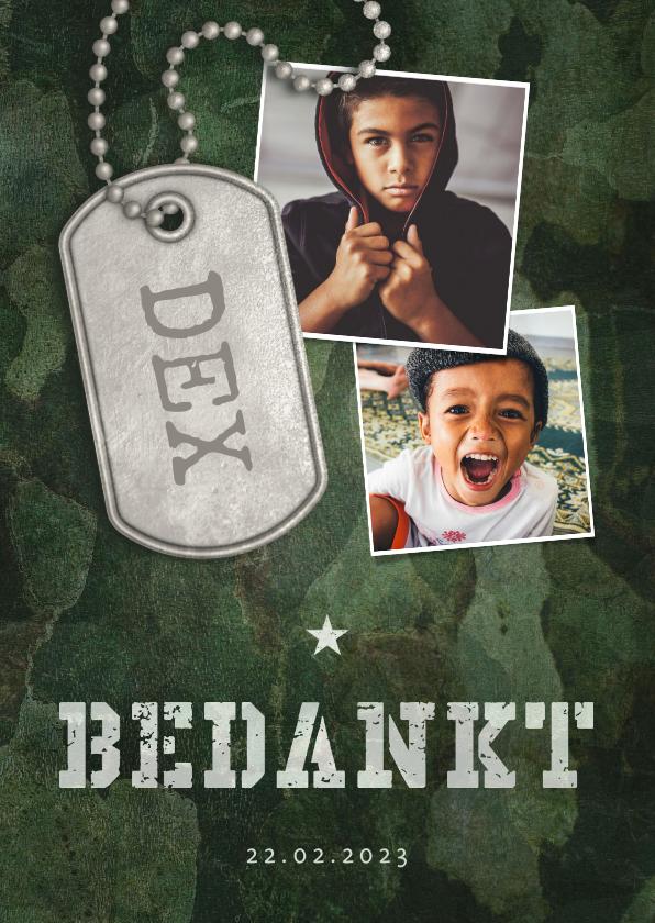 Communiekaarten - Bedankkaart communie army stoer met fotos en legerplaatje