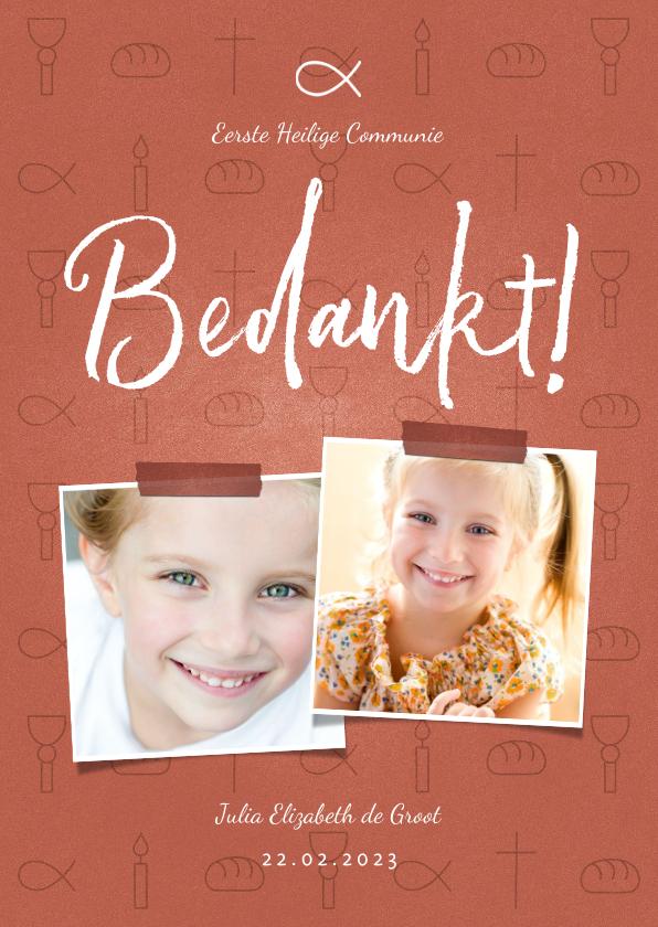 Communiekaarten - Bedankkaart communie christelijke symbolen met foto's meisje