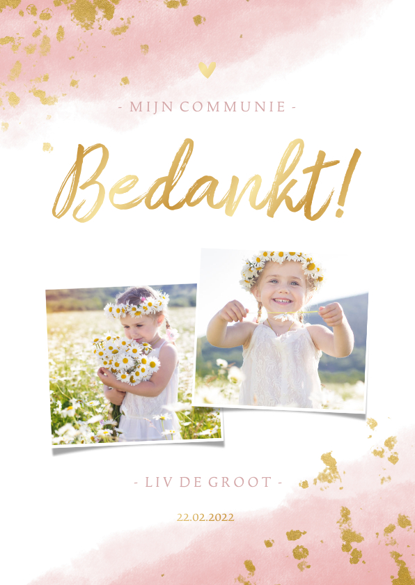 Communiekaarten - Bedankkaart communie meisje met waterverf en gouden spetters