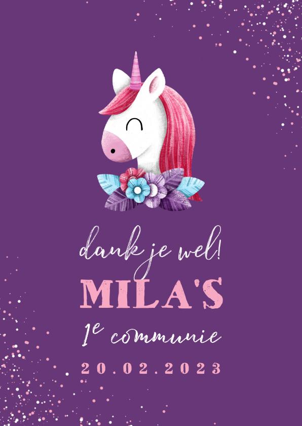 Communiekaarten - Bedankkaart communie met unicorn en confetti