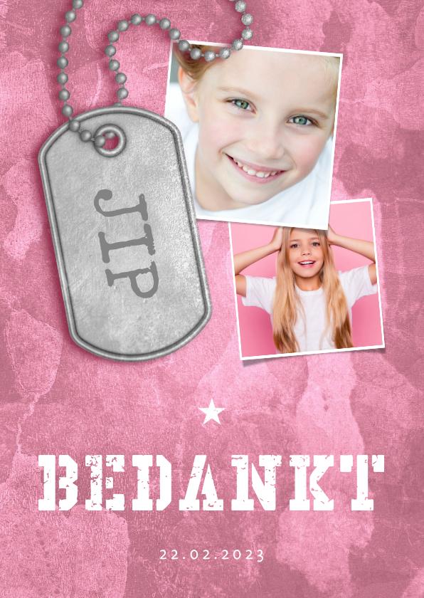 Communiekaarten - Bedankkaart communie roze stoer met fotos en legerplaatje