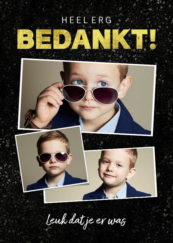 Communiekaarten - Bedankkaart communie stoer jongen spetters goud fotocollage