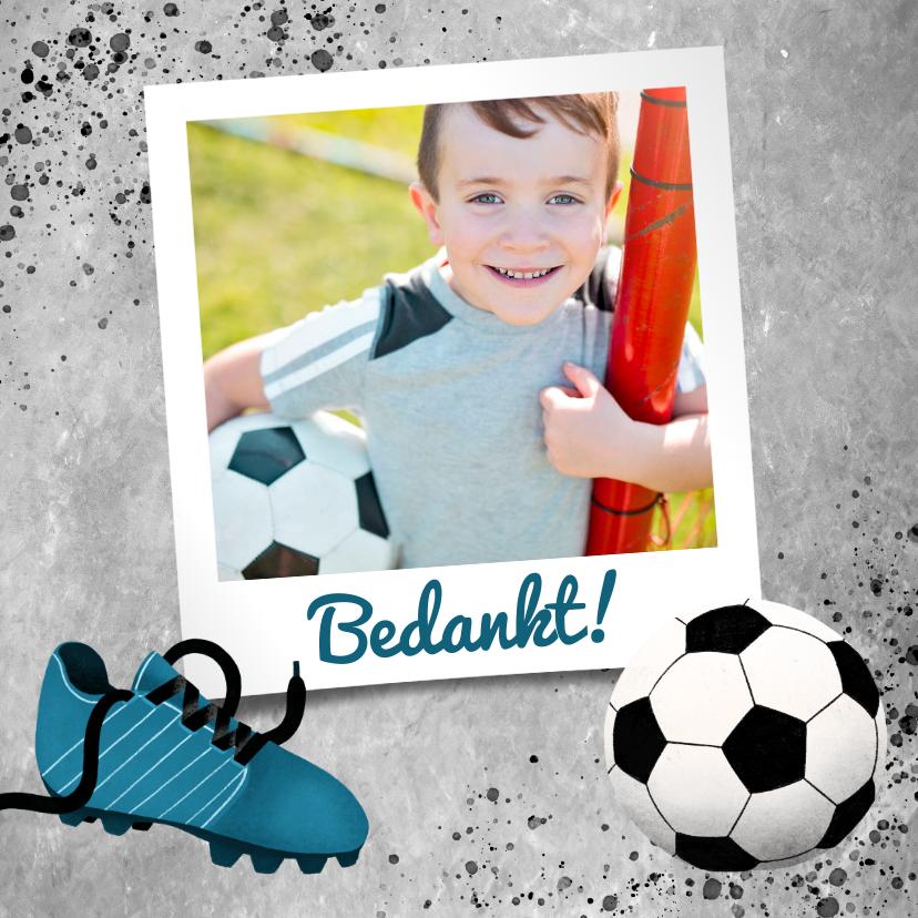 Communiekaarten - Bedankkaart eerste communie met voetbal, beton en foto