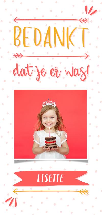 Communiekaarten - Bedankkaart meisje typografisch met confetti en eigen foto
