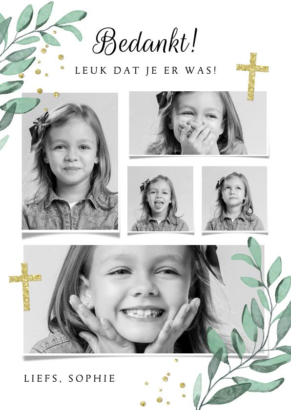 Communiekaarten - Bedankkaartje communie vormsel fotocollage christelijk goud