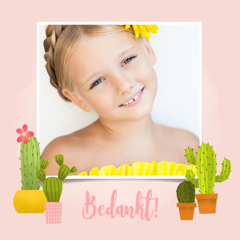 Communiekaarten - Bedankkaartje eerste communie met cactussen en foto